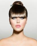Fringe. Fashion Model Girl. With Trendy Hairstyle royalty free stock photo