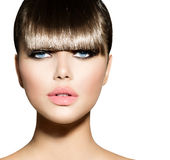 Fringe. Fashion Model Girl. With Trendy Hairstyle royalty free stock photos