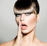 Fringe. Fashion Model Girl. With Trendy Hairstyle. Vogue Style royalty free stock image