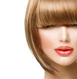 Fringe Hairstyle. Beauty Girl with short Hair Stock Images