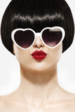 Fringe Hairstyle Beauty Girl with sun glasses. On white royalty free stock images