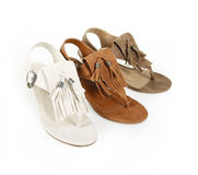 Fringe sandals shoes Royalty Free Stock Photo