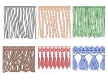 Fringe trim. Textile fringes, raw cloth edge and fashion garment frills. Seamless ruffles fiber vector patterns. Fringe trim. Textile fringes, raw cloth edge and royalty free illustration