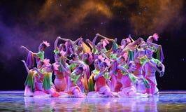 Fringed paper fan-June lotus-The national folk dance Royalty Free Stock Image