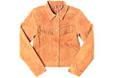 Fringed pocket suede jacket isolated on white background Royalty Free Stock Photography
