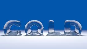 Frio gelado da palavra na neve Fotos de Stock Royalty Free