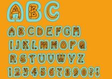 Frireligiöst bisarrt alfabet Original- stilsortsuppsättning med klotterbeståndsdelar, uppercase tecken och nummer, frågefläck, ex Royaltyfri Bild