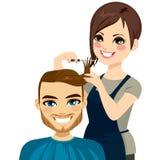 Frisör Cutting Man Hair stock illustrationer