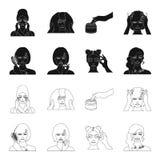 Frisör, skönhetsmedel, salong och annan rengöringsduksymbol i svart, översiktsstil Hjälpmedel hygien, omsorgsymboler i uppsättnin stock illustrationer
