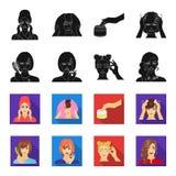 Frisör, skönhetsmedel, salong och annan rengöringsduksymbol i svart, fletstil Hjälpmedel hygien, omsorgsymboler i uppsättningsaml vektor illustrationer
