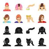 Frisör, skönhetsmedel, salong och annan rengöringsduksymbol i svart, tecknad filmstil Hjälpmedel hygien, omsorgsymboler i uppsätt vektor illustrationer