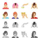 Frisör, skönhetsmedel, salong och annan rengöringsduksymbol i tecknade filmen, monokrom stil Hjälpmedel hygien, omsorgsymboler i  royaltyfri illustrationer