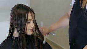 Frisör som kammar och klipper hår av den tonåriga flickaklienten i hårsalong stock video