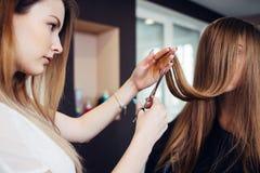 Frisör som klipper kluvna hårtoppar av kvinnligt kundsammanträde med långt hår som täcker hennes framsida i skönhetsalong royaltyfri fotografi