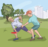 Frisbee παιχνιδιού Teens στο πάρκο Στοκ εικόνα με δικαίωμα ελεύθερης χρήσης