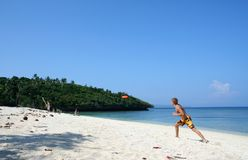Frisbee cricket boracay island beach  Stock Photography