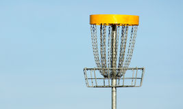 Frisbee golf basket against blue sky Royalty Free Stock Photography