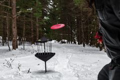 Frisbee golf in the winter time royalty free stock image