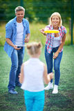 Frisbee play Royalty Free Stock Image