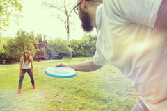 Frisbee throwing Stock Photo