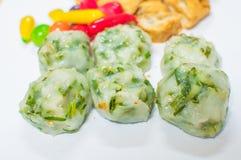 Frisch gebackenes Guichai, chinesischer Mehlkloß gemacht vom Mehl und vom Gemüse Stockfoto