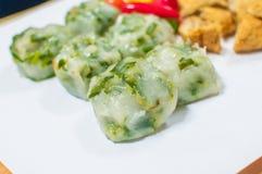 Frisch gebackenes Guichai, chinesischer Mehlkloß gemacht vom Mehl und vom Gemüse Stockbild