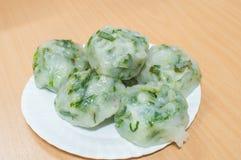 Frisch gebackenes Guichai, chinesischer Mehlkloß gemacht vom Mehl und vom Gemüse Lizenzfreies Stockfoto