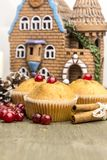 Frisch gebackenes Moosbeermuffin im neuen Jahr Stockbilder