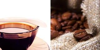 Frisch gebrauter Kaffee in einer Glasschale und Korn in der Tasche Lizenzfreie Stockbilder