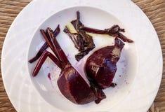 Frisch gekochte Rote-Bete-Wurzeln Stockfotos