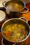 Frisch gekochte Suppe in einem Topf stockbilder