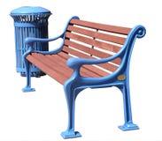 Frisch gemalte blaue Park-Bank und Abfall-Stauraum Stockfotos