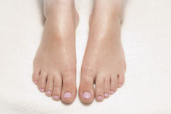 Frisch gemalte rosafarbene Zehennägel Stockfoto