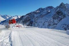Frisch gepflegtes piste in Solden, Österreich Stockfotografie