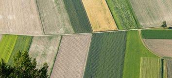 Frisch gepflogenes und gesätes Ackerland von oben Lizenzfreie Stockfotos
