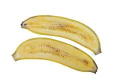 Frisch geschnittene Bananen auf weißem Hintergrund Stockbild