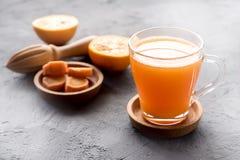 Frisch-zusammengedrücktes gesundes Glas Karottensaft des Karottensaftes geschmackvoller Gemüsesaft Detoxsaft lizenzfreie stockbilder