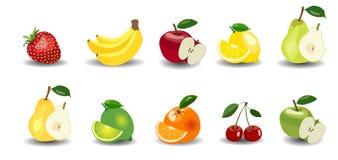 Frische Äpfel, Bananen, Birnen, Orangen, Zitrone, Kalk, Erdbeere und Kirsche Stockfotografie