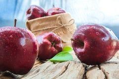 Frische Äpfel mit Wassertropfen und Äpfel des Sacks Lizenzfreie Stockfotos