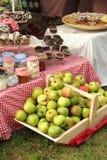 Frische Äpfel und Konserven Stockbilder