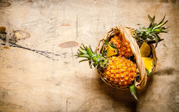 Frische Ananas im Korb Auf hölzerner Tabelle Stockfotografie