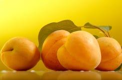 Frische Aprikosen mit Blättern Stockbilder