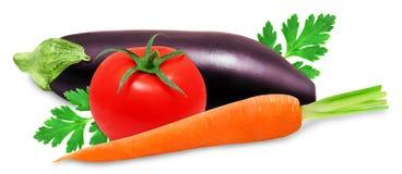 Frische Aubergine, orange carror und rote Tomaten Stockbild