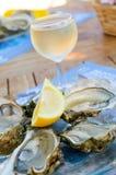 Frische Austern und ein Glas Wein Stockbilder