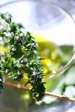 Frische Basilikumblätter im Olivenöl Stockbild