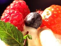 Frische Beeren in der Vanillecreme Stockfoto