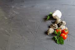 Frische Bestandteile für vongole mit Kopieraum - Tomaten, Petersilie und Knoblauch stockfotos