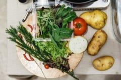 Frische Bestandteile schließen Rosemary, Zwiebel, Tomate, Kartoffel und Gemüse auf hölzernem Block mit ein Stockfotos