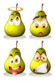 Frische Birne mit Gesichtsausdrücken Lizenzfreies Stockfoto