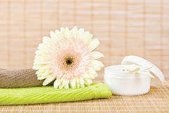 Frische Blume und Hautpflegeprodukt Lizenzfreie Stockfotografie